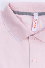 Poloshirt mit zarten Streifen in Rosa