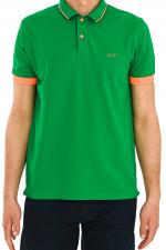 Poloshirt mit Neon-Details in Grün
