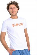 T-Shirt mit Label-Print in Weiß/Orange