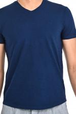 T-Shirt mit V-Neck in Navy