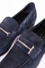 Loafer aus hochwertigem Verloursleder in Nachtblau