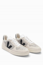 Veloursleder-Sneaker V-10 in Beige/Schwarz