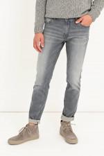Jeans aus Baumwollstretch in Hellgrau