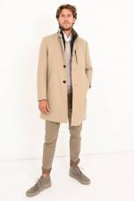 Klassischer Mantel mit Inlay in Beige/Braun