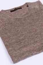Kurzarm-Pullover aus Leinen in Braun