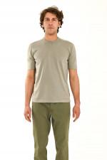 T-Shirt aus Feinstrick in Graugrün