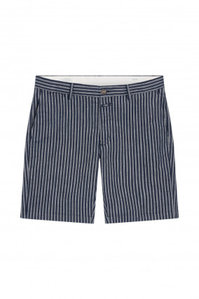 Gestreifte Chino Shorts in Dunkelblau