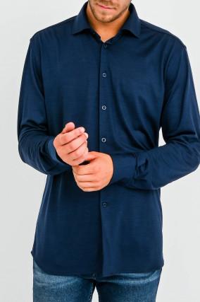 Hemd aus reiner Wolle in Navy