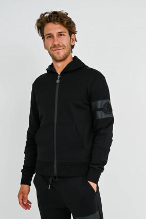 Sweat-Jacke mit Logo-Patch in Schwarz