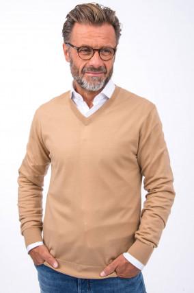 Merino-Pullover mit V-Neck in Camel