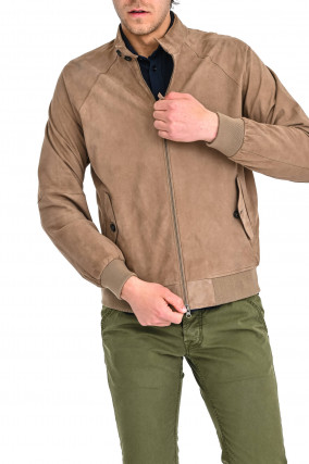 Veloursleder-Jacke in Camel
