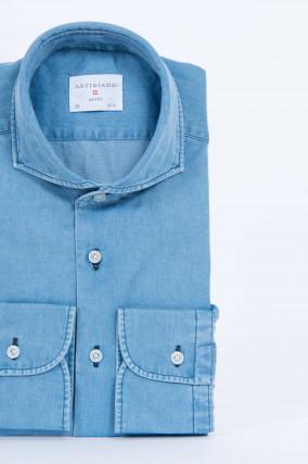 Hemd in Jeans-Optik in Blau