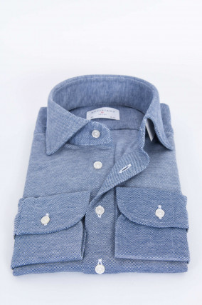 Oxford Piqué-Hemd in Navy/Weiß gemustert