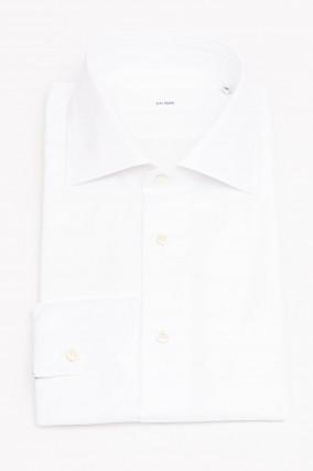 Hemd mit Fischgrätenmuster in Weiß