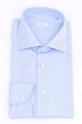 Hemd mit Fischgrätenmuster in Hellblau