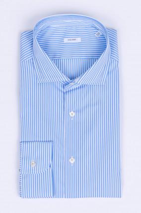 Gestreiftes Hemd aus Baumwollmix in Blau/Weiß