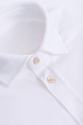 Baumwoll-Piqué-Hemd in Weiß