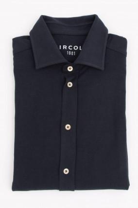 Jersey-Hemd in Navy