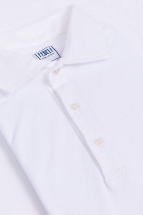 Jersey-Poloshirt in weiss