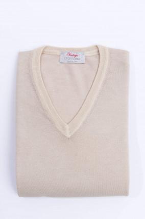 Schurwolle Pullover in Beige