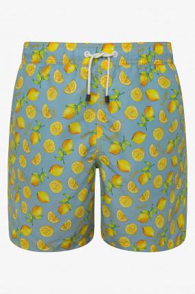 Gemusterte Badehose in Blau/Gelb