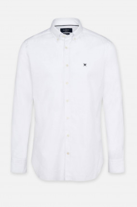 Oxford-Hemd mit Logo-Stitching in Weiß