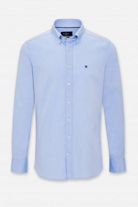 Oxford-Hemd mit Logo-Stitching in Hellblau
