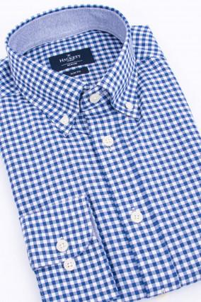 Baumwollhemd im Karo-Design in Dunkelblau/Weiß