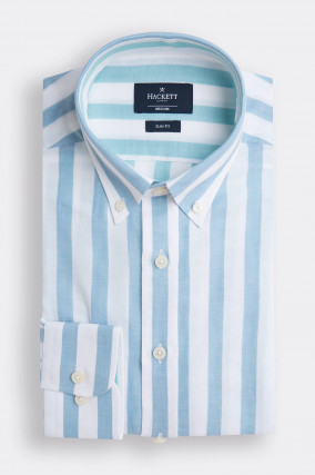 Gestreiftes Baumwoll-Hemd in Weiß/Hellblau