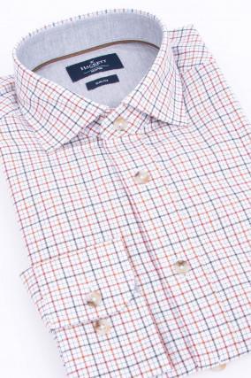 Hemd in Weiß/Braun/BRot