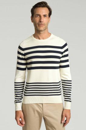 Strickpullover mit Streifen-Design in Weiß/Navy
