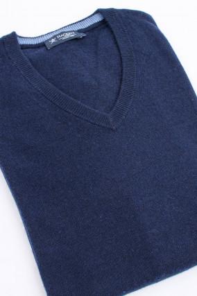 Pullover mit V-Ausschnitt in Navy