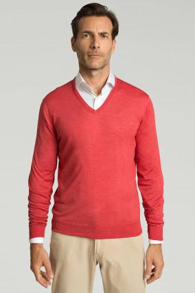 Pullover aus Merino-Seiden-Mix in Korallrot
