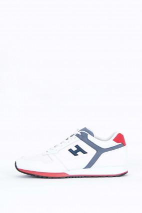 Sneaker H321 mit Lederdetails in Weiß/Grau/Rot