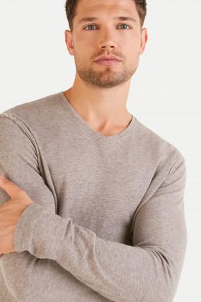 Cashmix Sweatshirt mit V-Ausschnitt in Taupe