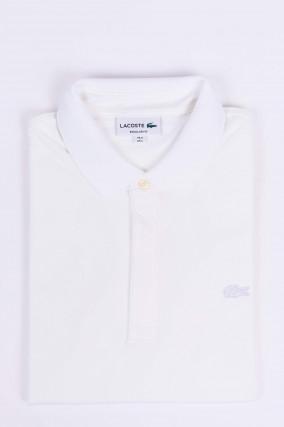 Poloshirt mit verdeckter Knopfleiste in Weiss