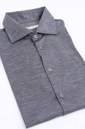Hemd aus reiner Wolle in Anthrazit