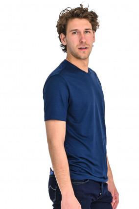 T-Shirt aus Schurwolle in Navy