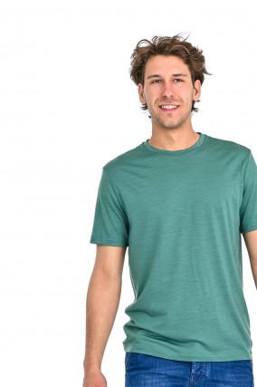 T-Shirt aus Schurwolle in Grün