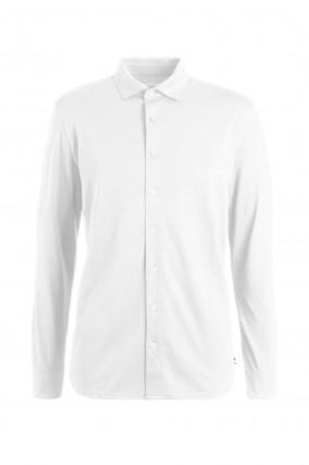 Jersey Baumwollhemd in Weiß