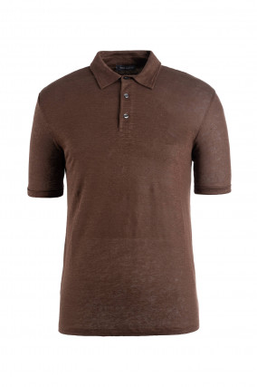 Polo-Shirt aus Leinen in Coffee