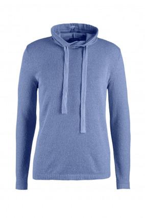 Hoodie aus Bouclee-Baumwolle in Jeansblau
