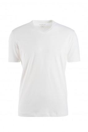 Jersey Kurzarmshirt mit V-Ausschnitt in Weiß