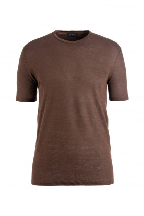 T-Shirt aus Leinen in Coffee