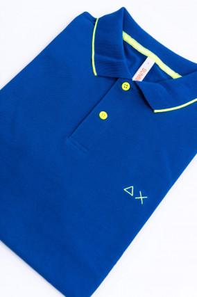 Poloshirt in Royalblau/Gelb