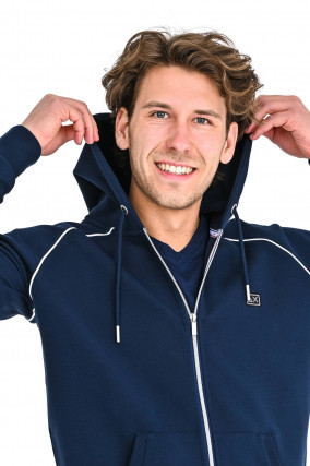Sweat jacke mit Logo-Patch in Navy