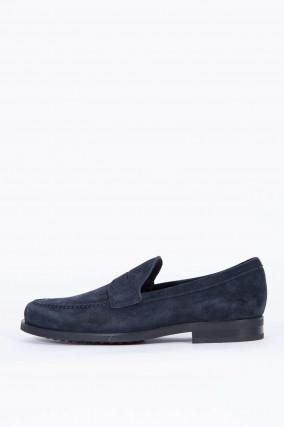 Loafer aus Verloursleder in Blaugrau