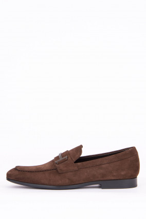 Loafer aus Veloursleder in Maroni