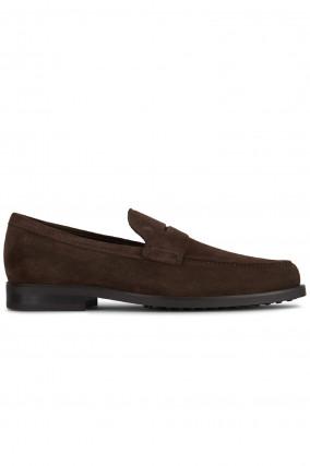 Loafer aus Veloursleder in Braun