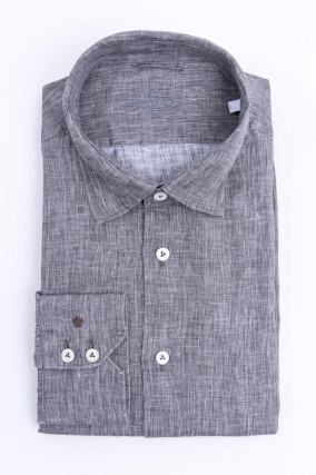 Leinenhemd mit Under-Button-Down in Grau meliert